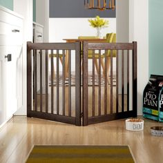 Elena Handcrafted Pure Mahogany 2 Panel Free Standing EZ Pet Dog Gate - Pumice Gray H X W up to Pet Gate With Door, Tall Pet Gate, Stair Gate, Small Doors, Swinging Doors, Screen Design, Mortise And Tenon, Dark Wood, Indoor