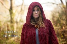 CROCHET PATTERN Hooded Cape Pattern Crochet Cloak por WellRavelled