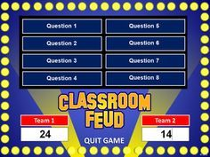 Free powerpoint game templates just add your own information and classroom feud powerpoint template plays like family feud she also has jeopardy wheel of fortune and baseball great test review fandeluxe Gallery