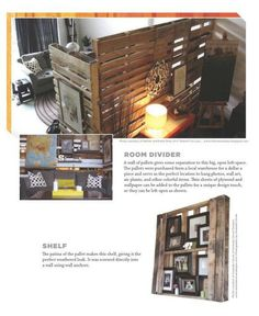 PALETTE PALOOZA, salvaging palettes and repurposing them : ROOM DIVIDERS *link sends you to the amazon.com page that sells the book with this info