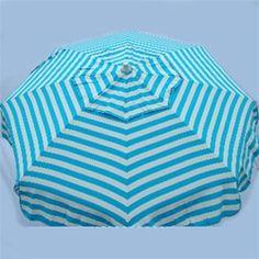 Turquoise-White Stripe 6' Beach Umbrella