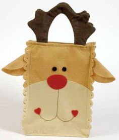 dulcero-navideno-reno Christmas Ornament Crafts, Christmas Bags, Christmas Deco, All Things Christmas, Decor Crafts, Christmas Crafts, Dremel Carving, Felt Decorations, Jingle Bells