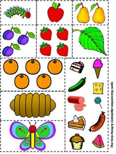 "sequencing for ""The Very Hungry Caterpillar""- I totally just used this  with my small groups SO fun! The kiddos love it almost as much as they love the book!"