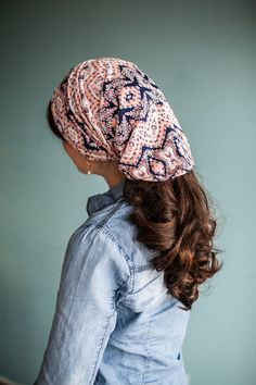 Navy LaceWork Long Stretch Cowl Garlands of Grace | headcovering hair scarf headwrap