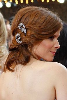Brides Magazine: Wedding Hairstyle Inspiration from the 2012 Red Carpet : Wedding Hairstyle Gallery Vintage Wedding Hair, Wedding Hair And Makeup, Bridal Hair, Hair Makeup, Vintage Weddings, Hair Wedding, Wedding Dresses, Boho Wedding, Wedding Bride
