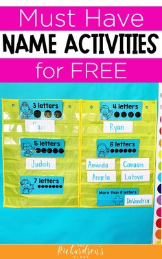 Grab this FREE printable with 5 hands-on name activities for kindergarten. Use them during literacy stations, morning work, guided reading, or intervention time. Some of them could be used in preschool and first grade, too! Name Writing Activities, Sight Word Activities, Reading Activities, Kindergarten Activities, Guided Reading, Early Reading, Work Activities, Alphabet Activities, Kindergarten Literacy