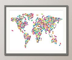 Cats World Map Print Cat World Map World Map Poster by VocaPrints