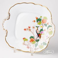 1 pc – Cake Plate – length 28 cm GRUE Grue design is painted in Chinoiserie and Orienta Vintage Cake Plates, Patterned Cake, Table Accessories, Oriental Fashion, Dinner Sets, Vintage China, Milk Glass, Chinoiserie, Fine China