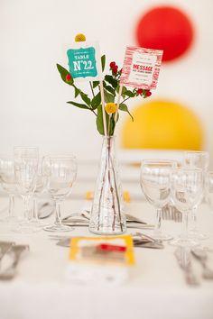 idée: déco de table: indique la table avec en plus quelques fleurs, + petit budget