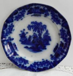 "J & G Alcock Flow Blue ""Scinde"" 9-1/2"", CIRCA 1840-45, Antique Flow Blue Plate #JGAlcock"