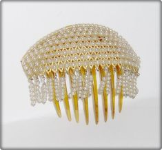 Vintage Hinged Domed Pearl And Horn Hair Comb With Dangles / GalleryTwo