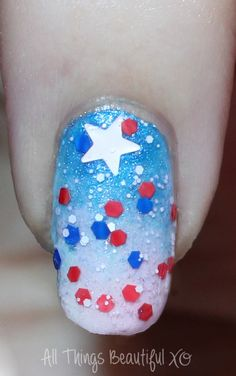 4th of July Glitter Ombre Firework Nail Art Macro on my 4th of July USA Nail Art with Stars, Glitter, & Ombre with Sinful Colors on All Things Beautiful XO | www.allthingsbeautifulxo.com