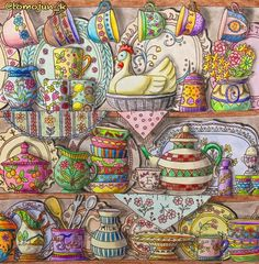 """510 Likes, 92 Comments - junko tomoeda (@tomojun_k) on Instagram: """"・ 連投すみません カラフル食器棚・・・塗ってみました すごいことになってしまいました ・ ・ #大人の塗り絵#コロリアージュ#ロマカン#ロマンティックカントリー #ロマンティックカントリー3…"""""""