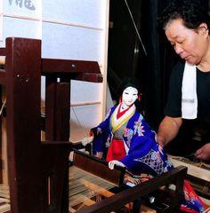 "Japan. Takumi Sato makes his ""karakuri-ningyo"" doll weave textiles."