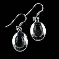 925 Sterling Silver Natural Black Rutile Gemstone Handmade Earrings Jewelry #Handmade #DropDangle