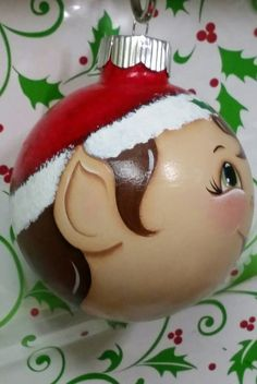 Items similar to Handpainted Glass Elf Ornament. on Etsy Gingerbread Ornaments, Painted Christmas Ornaments, Handmade Ornaments, Lightbulb Ornaments, Ball Ornaments, Christmas Light Bulbs, Christmas Balls, Christmas Art, Christmas Items