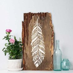 Tribal Feather Wall Art Stencil - Reusable Stencils - DIY Home Decor - Easy DIY ♡ Try the stencils instead of expensive wallpaper! Advanced Stencils offers the best stencils for DIY decoration - stencils skillfully crafted by profes. Feather Stencil, Stencil Wall Art, Feather Wall Art, Tribal Feather, Stencil Diy, Feather Design, Wood Feather, Feather Painting, Stencils On Wood
