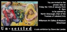 Steve des Landes private view invitation from 2018  Williamson Art Gallery