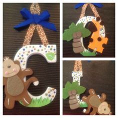 Child's handmade name plate using the monkey and animal theme.