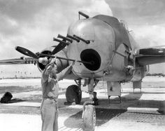 """vinegarjoe: """" MTech Sgt Lloyd M Staggs cleans the bore of a cannon mounted in the nose of a Mitchell of Marine Squadron Kwajalein, April Note also the six Browning cal. Aircraft Propeller, Ww2 Aircraft, Military Aircraft, Aircraft Images, Self Propelled Artillery, Bomber Plane, Aircraft Maintenance, Tank Destroyer, Ww2 Planes"""
