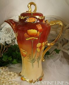 oh dear...my heart if beating so fast.......I might hyperventilate.....  FABULOUS Limoges Chocolate Pot with Hand Painted Tangerine Orange Poppies