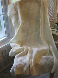 Afghan Cream Bone Off White Knitted Blanket by stephaniesyarn, $65.00