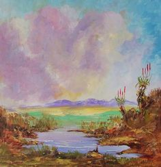 Buy TWO ALOES: oil on stretched canvas (600mm x 600mm x 20mm)for R1,600.00