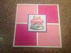 Cuttlebug pink embossed square birthday card