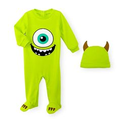 "Disney Baby Boys 2 Piece Monster's Inc. Mike Wazowski Footie and Matching Hat Set - Babies ""R"" Us Disney Baby Clothes, Baby & Toddler Clothing, Toddler Outfits, Baby Boy Outfits, Baby Kostüm, Baby Bug, Baby Mine, Baby Onesie, Mike Wazowski Onesie"