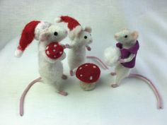 Poseable Mice Needle Felt Kit - makes 3 mice in grey, brown and white Needle Felting Kits, Mice, Wool Felt, Christmas Ornaments, Holiday Decor, Grey, Brown, Gray, Computer Mouse