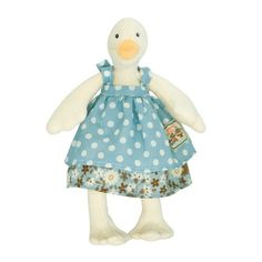 Tiny Jeanne: Jeanne, in the range of la Grande Famille is a soft and cuddly goose - Moulin Roty La Grande Famille Plush Animals, Baby Animals, Cute Animals, Stuffed Animals, Duck Toy, French Fabric, Jeanne, Le Moulin, Blue Polka Dots