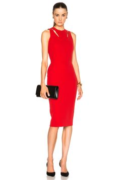 VICTORIA BECKHAM DOUBLE CREPE SLEEVELESS CUT OUT DRESS £1,798.65