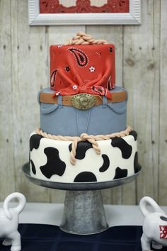 Cake from a Western Themed Cub Scout Blue & Gold Banquet via Kara's Party Ideas | KarasPartyIdeas.com (48)