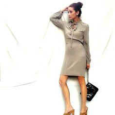 Yigal Azouel Neutral Crepe Dress w/Ruffle Collar Neutral Crepe Dress with Ruffle Collar- Yigal Azouel. Size small. Yigal Azrouel Dresses