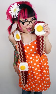 Bacon and Egg scarf crochet