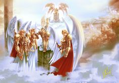 Archanges et Chérubins par Carlos Alberto Lam Reyes Greek Mythology Gods, Gods And Goddesses, Jesus Cartoon, Modern Magic, Angel Warrior, Ange Demon, Star Wars Fan Art, Angels And Demons, Dark Fantasy Art