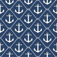 This wallpaper features anchors a mere half inch tall. They are neatly regimented on a solid color field. It's charming on its own where a small pattern is desired.