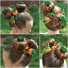 "This ""Pumpkin Patch"" hairdo is so cute! ~ Top 16 Most Creative DIY Halloween Hairstyles"