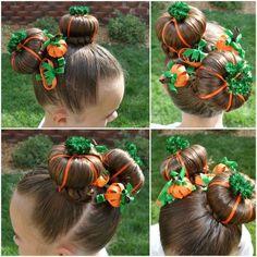 "This ""Pumpkin Patch"" hairdo is so cute! ~ Top 16 Most Creative DIY Halloween Hairstyles"