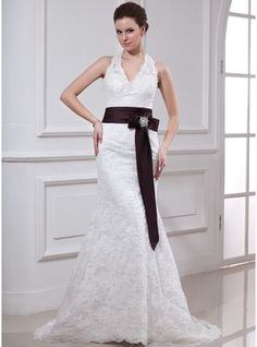 Trumpet/Mermaid Halter Court Train Satin Lace Wedding Dress With Sash Crystal Brooch Bow(s)