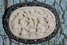 Vintage Chinese Export Sterling Silver Carved Faux Ivory Divorce Pin Brooch.