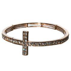 Amazon.com: Designer Inspired Gold Tone Sideways Side Cross Bracelet with Rhinestones: Jewelry