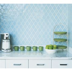Colors for a bright kitchen, egg blue tiles, apple green accents, white marble || Vibe Ashbury Tiles