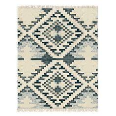 ivory, green and blue fringe rug