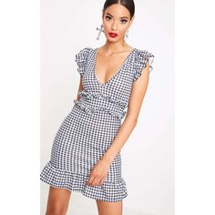 Black Gingham Frill Detail Bodycon Dress ($11) ❤ liked on Polyvore featuring dresses, black, frill hem bodycon dress, bodycon cocktail dresses, frill hem dress, ruffle cocktail dress and flounce dress