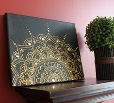 Henna Canvas-Mandala Canvas-Black & Gold Wall Art-Boho Room Decor-Gift for Mom-Wedding Gift-Teen Birthday-Henna Art Henna Canvas, Mandala Canvas, Mandala Artwork, Mandala Painting, Mandala Drawing, Henna Art, Dot Art Painting, Acrylic Painting Canvas, Gold Wall Art