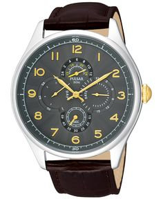 Pulsar Men's Brown Leather Strap Watch 44mm PW9011 - Watches - Jewelry & Watches - Macy's