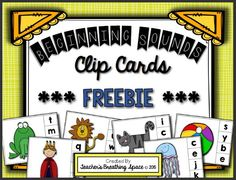 Beginning Sounds Clip Cards FREEBIE! This set includes ONE clip card for each consonant and TWO clip cards for each vowel. Beginning Of Kindergarten, Kindergarten Lessons, Initial Sounds, Letter Sounds, Literacy Stations, Literacy Centers, Autism Activities, Alphabet Activities, Sound Clips