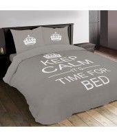 Sleepcare Dekbedovertrek Keep Calm Grey