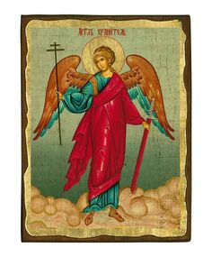 Guardian Angel - Seriograph icon crafted in canvas with colored background on aged natural wood. Raphael Angel, Archangel Raphael, Roman Mythology, Greek Mythology, Peter Paul Rubens, Byzantine Icons, Albrecht Durer, Guardian Angels, Orthodox Icons